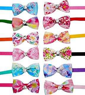 JpGdn 12pcs Pet Bowties in Mixed Color with Glittery Rhinestone and Adjustable Bow Ties Collar for Small Medium Dog Cats Pets Grooming Accessories