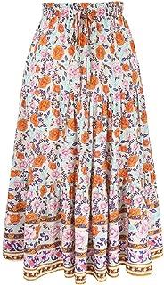 Womens Boho Floral Print High Waist Pleated Skirt A Line Midi Skirts