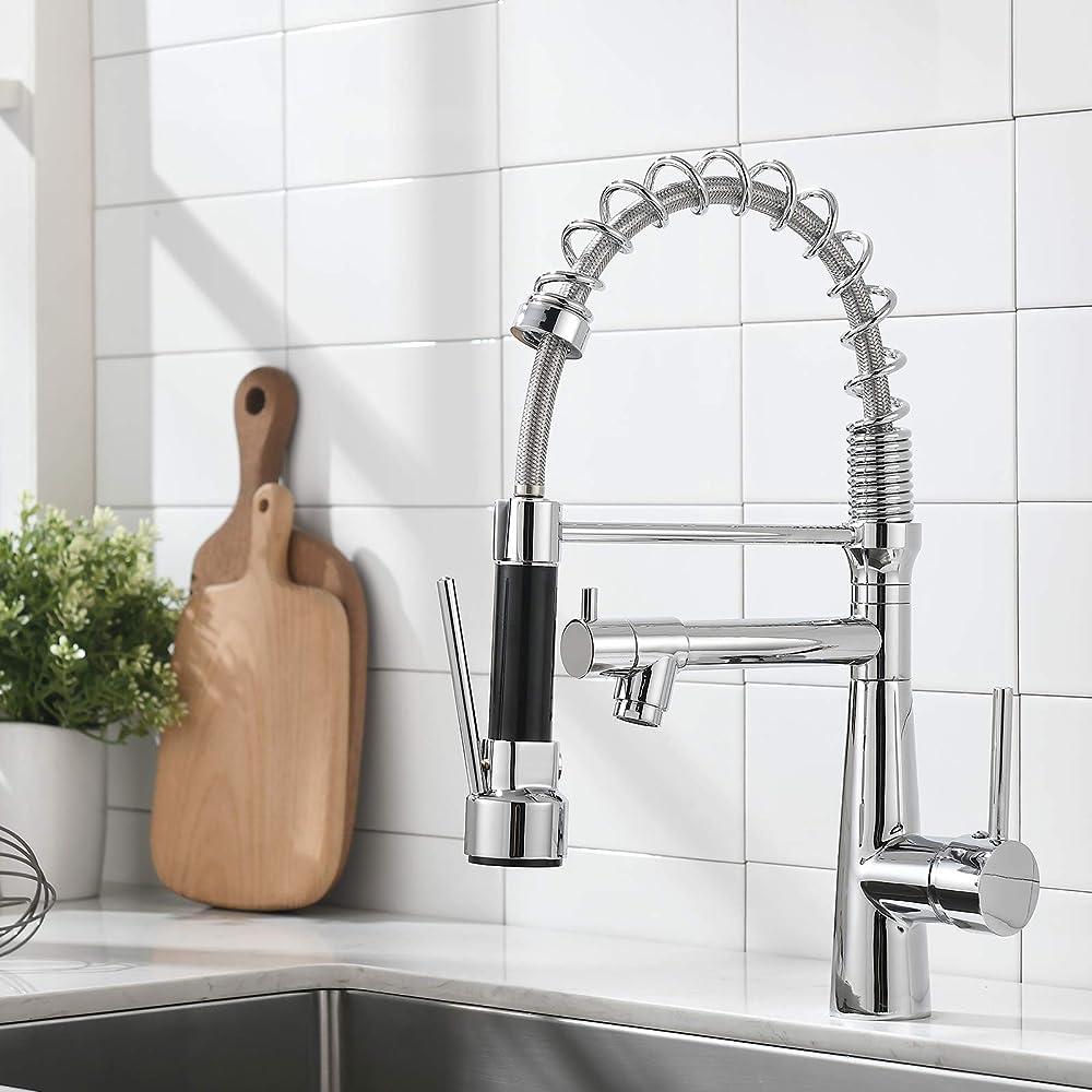 Timaco, rubinetto da cucina cromato con molla a spirale, girevole a 360°, con due beccucci, estraibile
