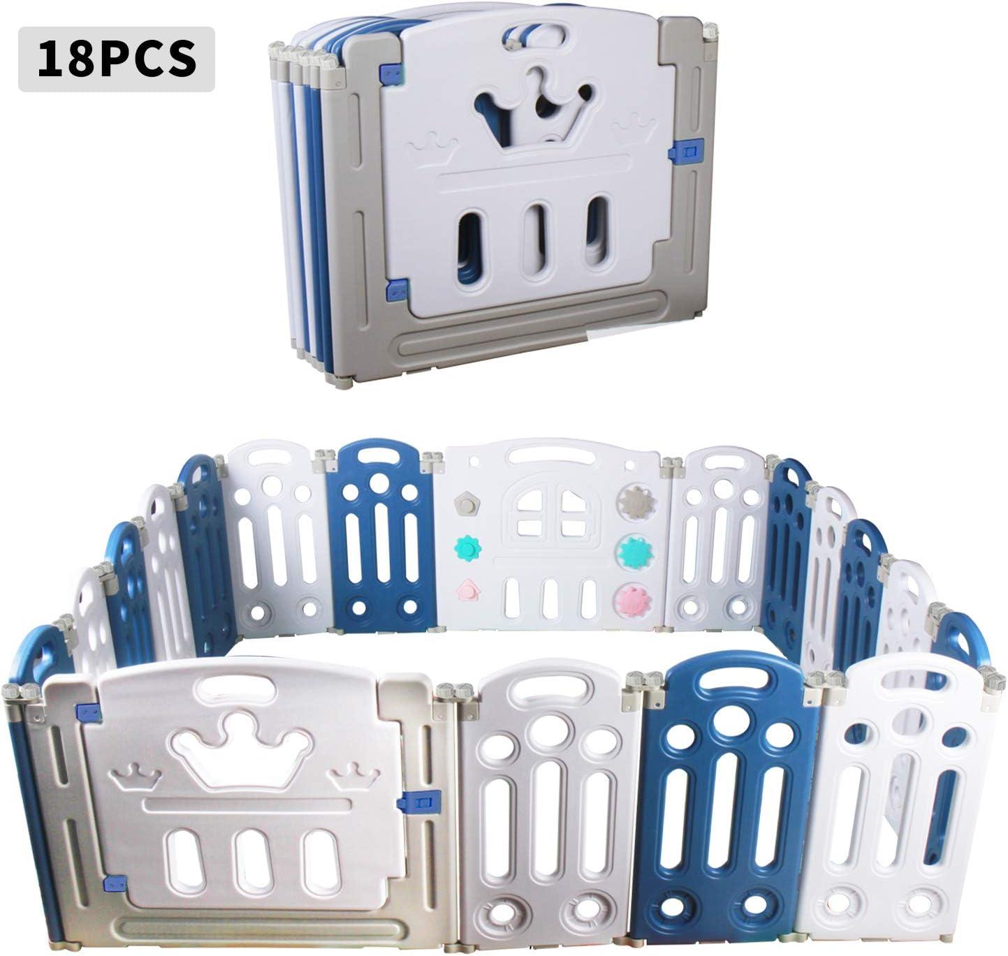 12+2 // Bleu,gris,blanc//plis CCLIFE Parc B/éb/é Parc B/éb/é Barri/ère Pliable Grand Parc B/éb/é Protecteur En Plastique Cl/ôture B/éb/é avec Porte et Jouets Int/érieur Ext/érieur