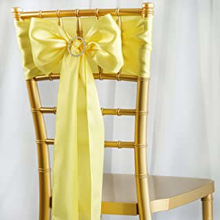 BalsaCircle 50 Yellow Satin Chair Sashes Bows Ties for Wedding Decorations Party Supplies Events Chair Covers Decor Banquet Reception
