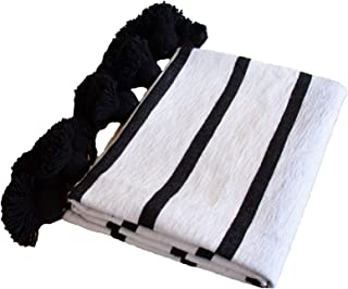 Zeal Living Hand Woven Moroccan Throw Blanket with Tassels, Black and White Stripes