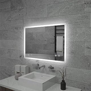 Flyoung 浴室鏡 LED浴室ミラー 洗面所 壁掛け 明るさ調整、曇り防止機能 女優ミラー 横掛け縦掛け可能 IP44防水 (60*40 CM)