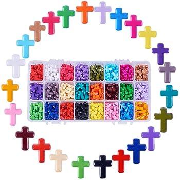 SUNNYCLUE 50 pz 5 Colori Ciondolo A Croce in Legno Naturale Grande con Foro da 2 mm Croce in Legno A Croce per Rosario Fai-da-Te Collana Santa Creazione di Gioielli