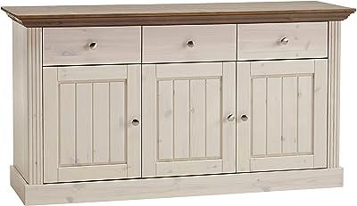 Steens Furniture Monaco Buffet, 3 Portes, tiroirs 3, 145 x 78 x 46 cm (L/H/T), Le pin Solide, Blanc/Gris, Bois, weiß/Grau, 78 x 145 x 47 cm
