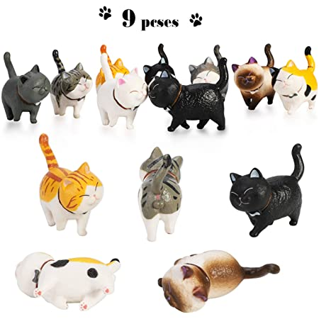 Mini Creative Various Shaped Anime 9pcs//set Cheese Cat Action Figure Kids Toys