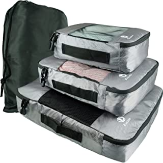 Dinictis 4 Set Packing Cubes with Laundry Bag - Travel Carry On Luggage Organizer -Dark Grey