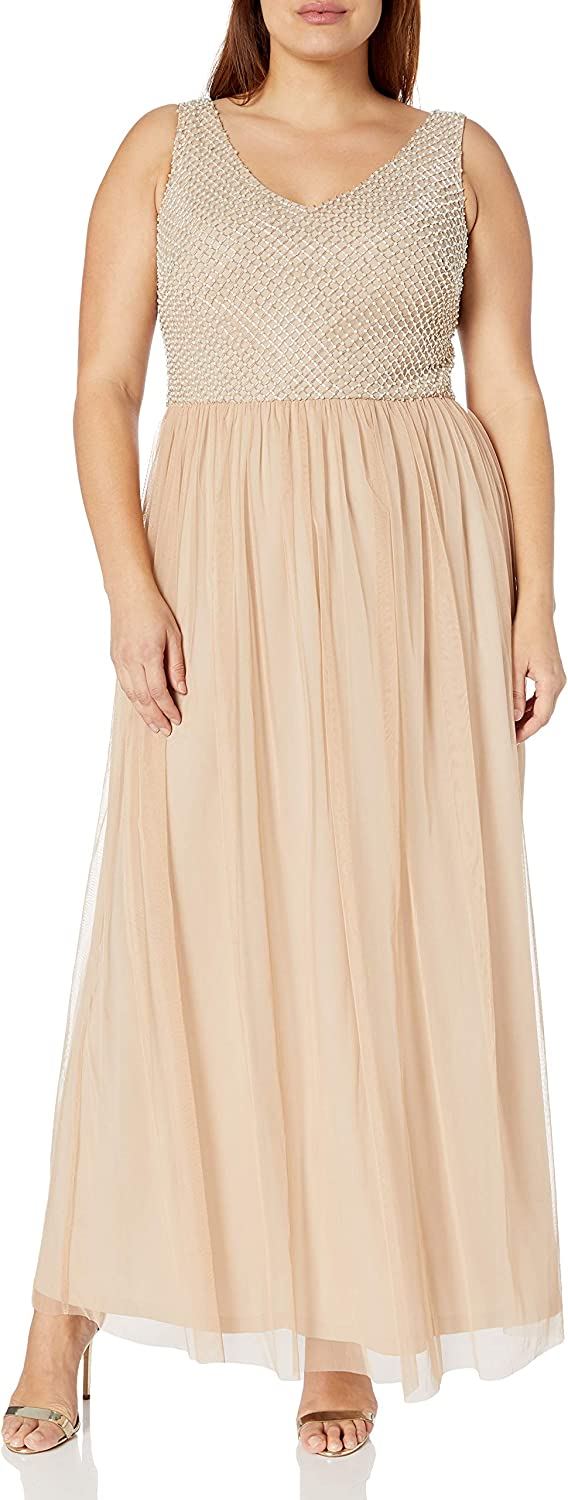 Adrianna Papell Women's Beaded Long Dress with A Full Tulle Skirt Plus Size