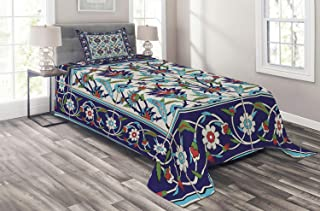 Ambesonne Turkish Pattern Coverlet, Mosaic Tiles with Nature Inspired Ornaments Tulips and Daisies with Curls, 2 Piece Decorative Quilted Bedspread Set with 1 Pillow Sham, Twin Size, Turquoise White