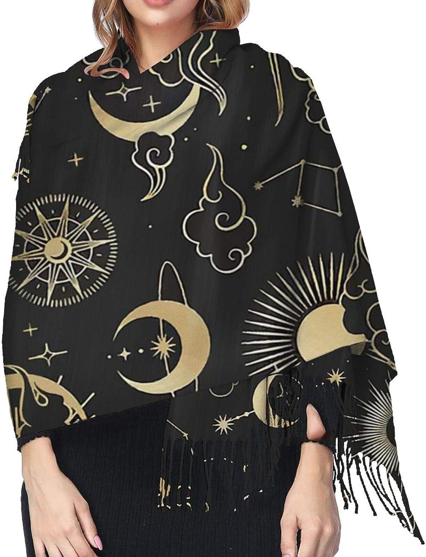 Star Moon Cashmere Feel Scarf Lightweight Soft Scarfs For Boys Girls Creative Warm Cold Weather Blanket Scarf
