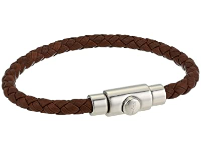 Salvatore Ferragamo Leather Bracelet (Brown/Silver) Bracelet