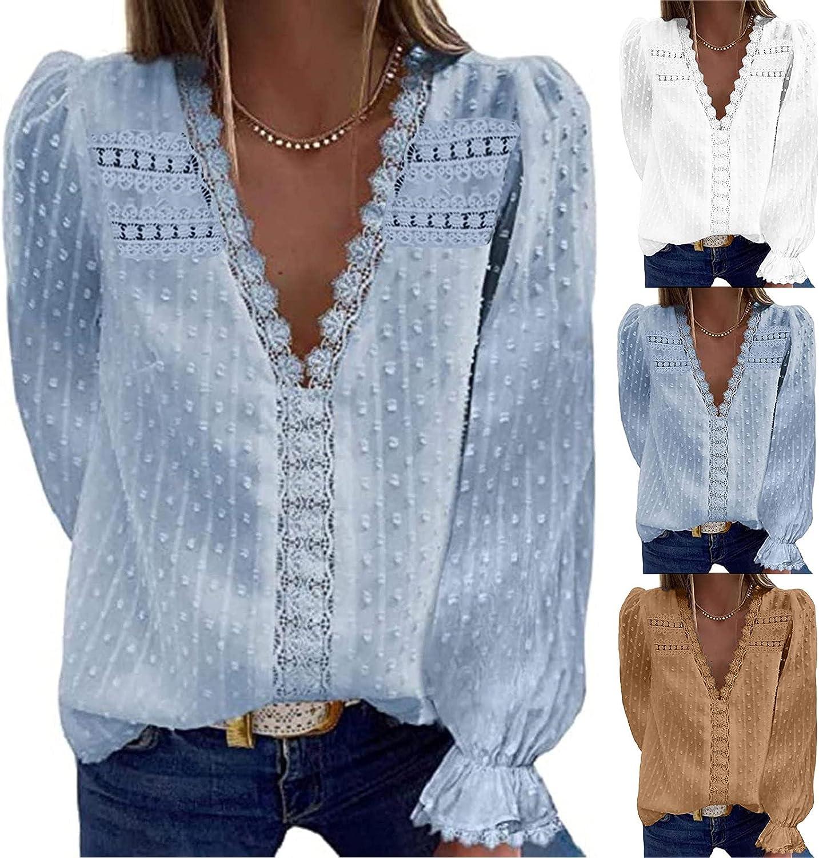 WUWUTOU Womens Autumn Lace Tunic Tops V Neck Long Sleeve Pullover Vintage Elegant Shirts Polka Dot Blouses Tunic