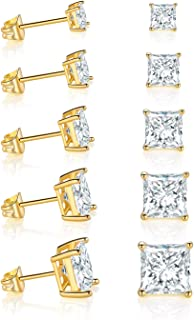 GEMSME 18K Yellow Gold Plated Princess Cut Clear Cubic Zirconia Stud Earrings Pack of 5