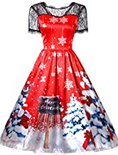 Christmas Dresses for Women Vintage Sleeveless Cocktail A-Line Christmas Tree Xmas Printed Party Swing Dress Costumes