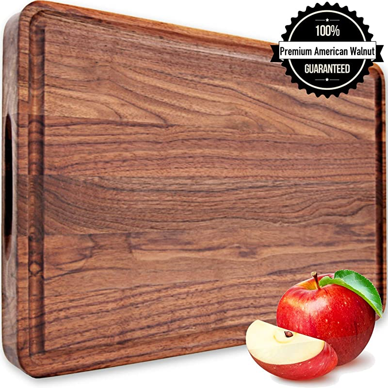 Large Walnut Wood Cutting Board 18x12x1 2 Handles Reversible With Juice Groove Thick Butcher Block Chopping Carving Charcuterie Serving Edge Grain By AtoHom