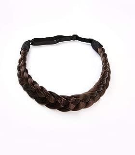 Coolcos Women Fashion French Hair Style Plaited Braided Hair Braid Headbands Synthetic Dark Brown Braids Headband