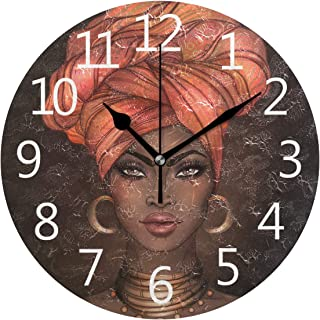 SUABO Wall Clock African Pretty Girl Round Wall Clock Arabic Numerals Design for Living Room Bathroom Home Decorative