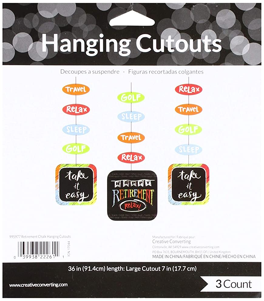 Creative Converting 995977 Retirement Chalk Hanging Cutouts (3 per Pack), Any, Multicolor