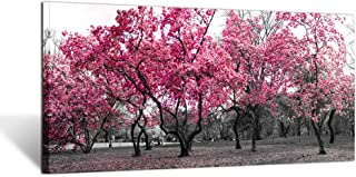 Kreative Arts Large Wall Art Painting Contemporary Pink Tree in Black and White Fall Landscape Picture Modern Giclee Stretched and Framed Artwork for Office Living Room Decoration20x40in (Pink Tree)