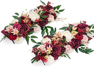 Ling's moment Ready to Use Wedding Table Centerpieces Marsala & Blush Flower Arrangements 34.4'' in Total Set of 2 for Sweeth