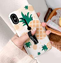 iPhone X Case with Finger Grip,YTamazing 3D Embossed Flowers Design Rugged Shockproof Slim Fit Dual Layer Finger Ring Loop Strap Case with Finger Strap for Apple iPhone X (Pineapple, iPhone x)