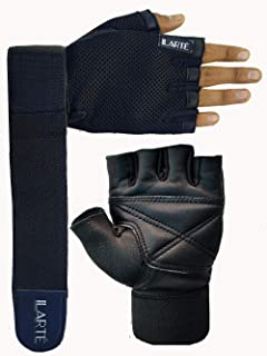 ILARTE Leather Gym Gloves with Foam Padding and 50 cm Elastic Wrist Support