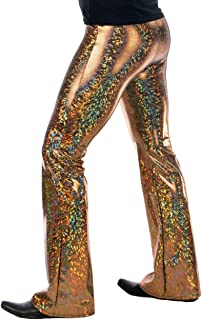 Revolver Fashion Holographic Disco Men's Flared Pants: USA Made Flare Bell Bottom Leggings