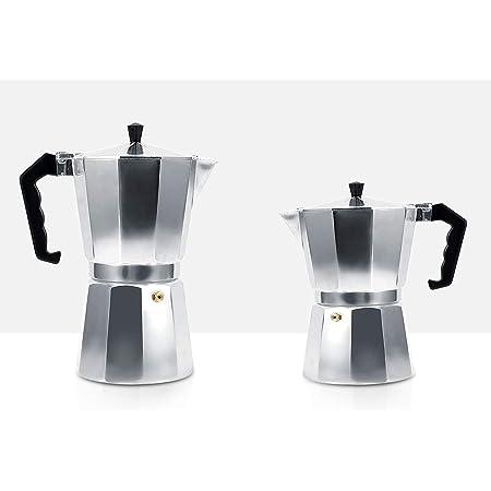 Matlan Cafetera Italiana/Italian Coffee Maker en Aluminio, Cafetera de Expresso Moka Clásica Espresso para Mocha Latte Percolador en Estufa Cafetera Café Molido [300 ml - 6 Tazas]