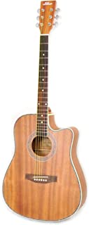 "Pyle Dreadnought Acoustic-Electric Cutaway Guitar - 41"" 6 String Mahogany Wood-Grain Style w/Built-in Preamplifier, Case Bag, Steel Strings, Nylon Strap, Tuner, Picks, Great for Beginner - PGA52RBR"