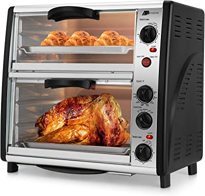 Flexzion Countertop Toaster Oven - 46QT Large Double Door Electric Roaster Cooker Machine for Rotisserie Chicken Pizza with Bake Broil Toast Setting Timer Temperature Control 1800W Kitchen Appliances
