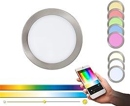 EGLO connect LED inbouwarmatuur Fueva-C, Smart Home inbouwarmatuur, materiaal: gegoten metaal, kunststof, kleur: mat nikke...