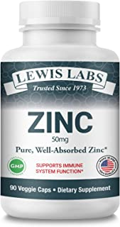 Zinc Supplement 50mg | Pure Zinc Citrate Vitamins for Adults for Immune Support, Metabolism, Acne, Skin Hea...