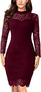 Long Sleeve Lace Bodycon Scalloped Knee Length Cocktail Party Dress for Women