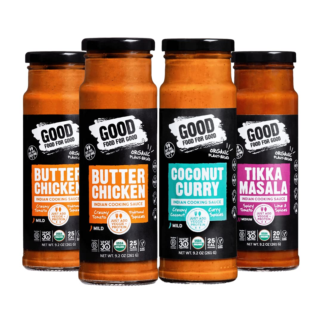 Good Food For Good Organic Indian Simmer Sauces, Butter Chicken, Tikka Masala, Coconut Curry Combo, Vegan Cooking Sauces, Whole30 Approved, Keto & Paleo friendly; 261gm/ 9.2Oz (4-Pack)