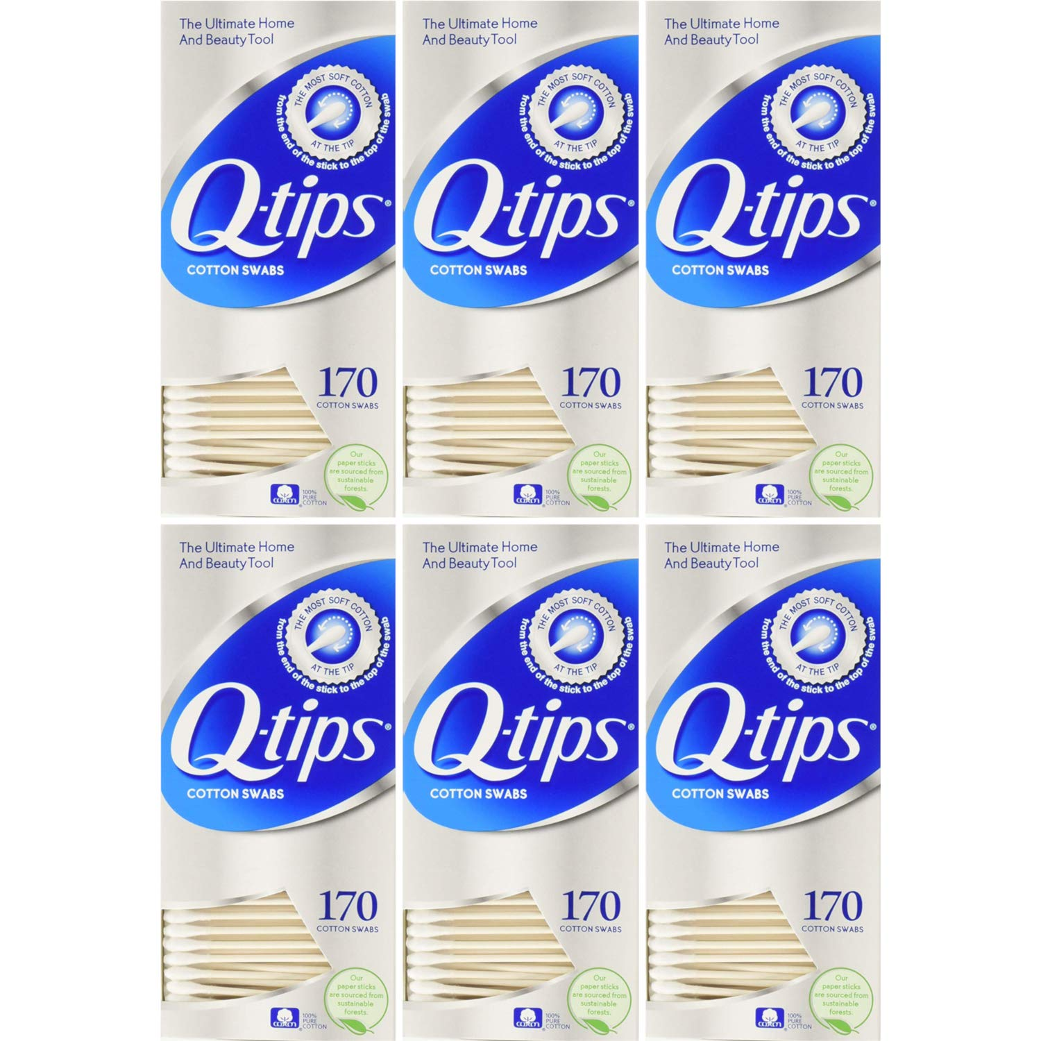 Q-tips Manufacturer direct delivery Cotton Swabs Sales for sale 170 Count 6 Value Pack of each