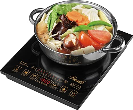 """Rosewill 1800 Watt 5 Pre-Programmed Settings Induction Cooker Cooktop, Included 10"""" 3.5 Qt 18-8 Stainless Steel Pot, Gold, RHAI-16002"""