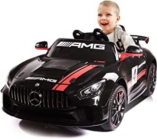 Kidsclub Electric Cars for Kids Ride on Car with Remote Control 12V Power Wheels Truck Toy Radio Parental Control LED Lights Motorized Cars Battery Powered Vehicles Mercedes Benz AMG for Toddler