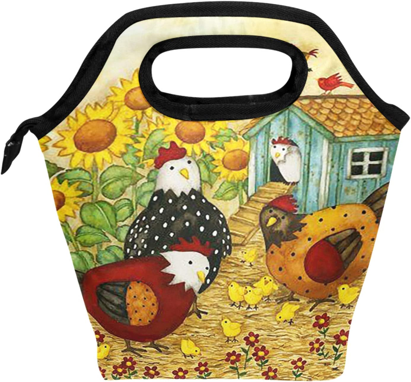 ALAZA Lunch Tote Bag Nature Farm Life Rooster Hen Chickens Insulated Cooler Thermal Reusable Bag, Sunflower Bird Country Rooster Summer Spring Lunch Box Portable Handbag for Men Women Kids Boys Girl