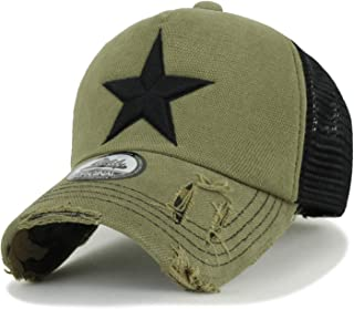 ililily Star Embroidery tri-Tone Trucker Hat Adjustable Cotton Baseball Cap
