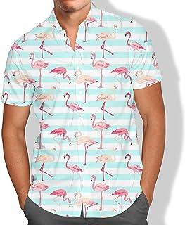 Camisa Praia Masculina Flamingo Listras Tropical Summer