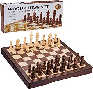 Wooden Chess Set, 15-Inch Standard Wooden Handmade Chess with Folding Classical Chess Board, for Kids and Adults