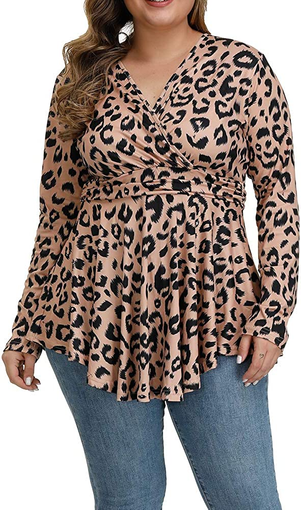 ALLEGRACE Directly managed store Spring new work Plus Size Tunic Women Long P Sleeve Print Tops Leopard