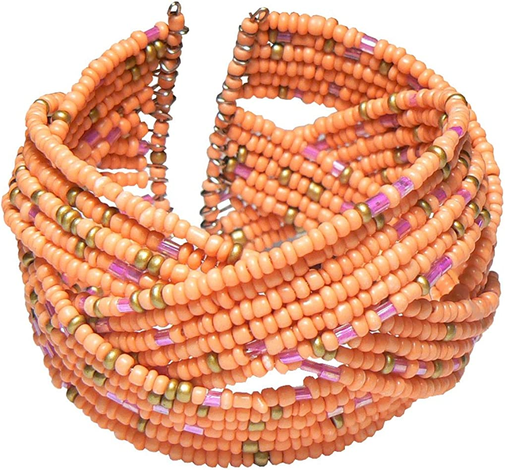Wide Peach Seed Bead Cuff Bracelet Matte Gold-Tone Fuchsia Pink Accents 1.5 Inches