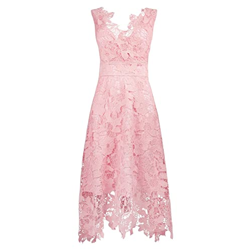 0931ff8fbf12 KIMILILY Women's V Neck Elegant Floral Lace Swing Bridesmaid Dress