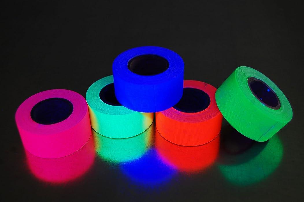 5 Pack 1 Inch Blacklight Reactive Fluorescent Gaffer Tape (6 Yards Per Roll)