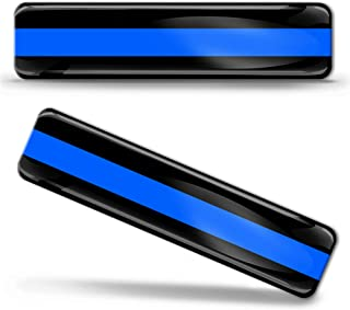 2 x 3D Domed Silicone Stickers Decals USA United States of America Thin Blue Line National American Police Support Flag Car Motorcycle Helmet F 35