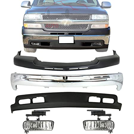 Amazon Com New Front Bumper Chrome Upper Cover Textured Lower Valance Air Deflector Primed Fog Lights Left Driver Right Passenger Side For 2001 2002 Chevrolet Silverado 2500hd 3500 Direct Replacement Automotive