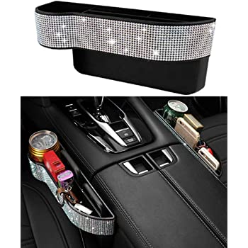 Crystal Seat Console Storage Organizer for Women Diamond Seat Side Drop Caddy Catcher with Cup Holder Uphily Bling Side Slit Seat Gap Filler