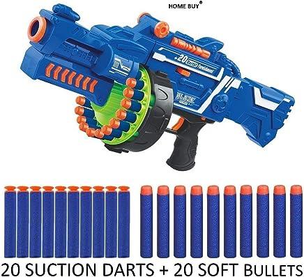 HOME BUY Plastic Blaze Storm Automatic Gun Toy with 40 Safe Soft Foam Bullets, 49x23x12 cm