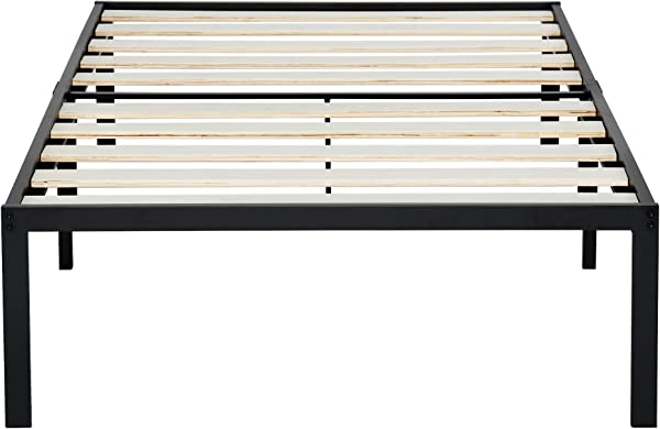 Ecos Living 14 Inch Strengthen Support With Extra Bars Wooden Slat Mattress Foundation Platform Bed Frame Anti Slip Feature Easy Assembly Noise Free Maximum Storage Twin Size